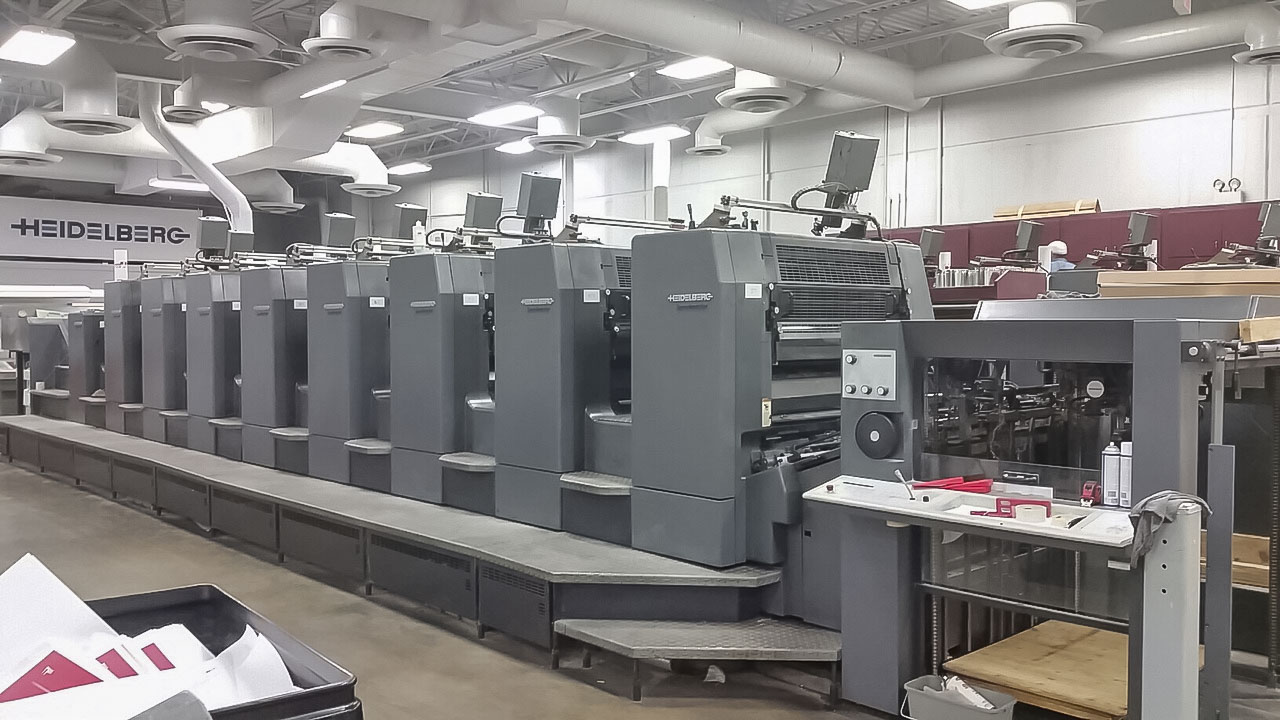 Used Heidelberg SM102-8P+LX eight color perfector with tower coater and CP2000 console